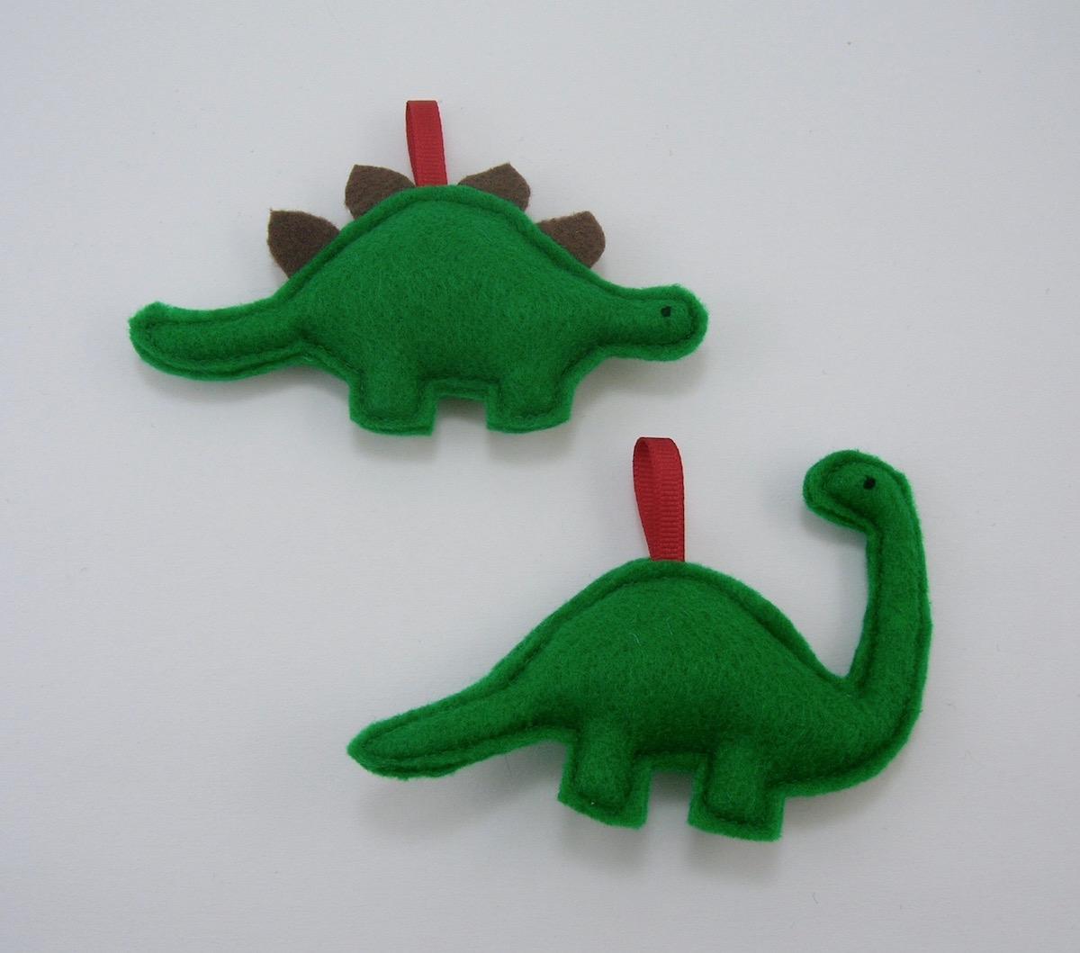 Dinosaur christmas ornaments - Dinosaur Christmas Ornament Set Stegosaurus And Brontosaurus