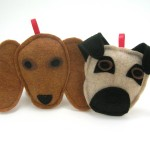 Custom dog ornaments made by Panda With Cookie. Sewn to look like your pup. Dachshund dog example.