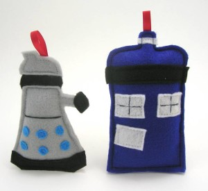 Doctor Who ornament set with Tardis and dalek at Geek the Halls