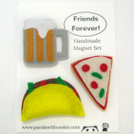 Friends forever magnet set with beer, pizza, and taco