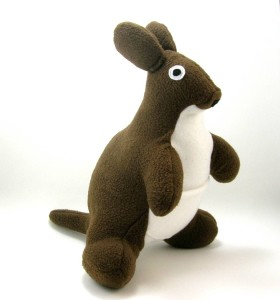 A kangaroo plush toy in brown and white